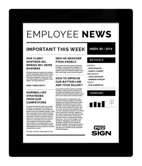 picosign epaper signage display employee news